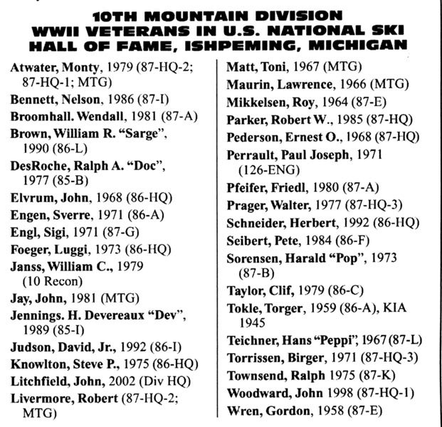 Nugget #181 Tenth Mtn Hall of Famers